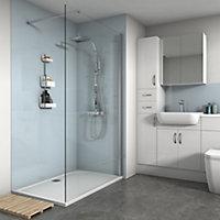 Splashwall Gloss Pale blue 3 sided Shower Panel kit (L)1200mm (W)1200mm (T)4mm