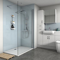 Splashwall Gloss Pale blue Shower Panel (H)2420mm (W)900mm (T)4mm