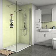 Splashwall Gloss Pale lemon Shower Panel (H)2420mm (W)600mm (T)4mm