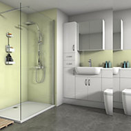 Splashwall Gloss Pale lemon Shower Panel (H)2420mm (W)900mm (T)4mm