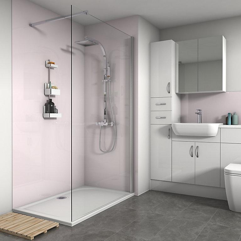 splashwall gloss pale pink shower panel h2420mm w900mm