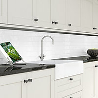 Splashwall Gloss White Melamine Splashback, (H)1220mm (W)2440mm (T)4mm