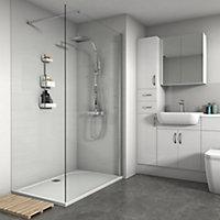 Splashwall Gloss White Tile effect 3 sided Shower Panel kit (L)2420mm (W)1200mm (T)3mm