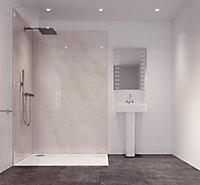 Splashwall Impressions Gloss Cararra marble effect Shower Panel (H)2420mm (W)585mm (T)11mm