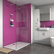 Splashwall Matt Fucshia Shower Panel (H)2420mm (W)600mm (T)4mm