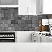 Splashwall Matt Grey Concrete tile effect MDF Splashback, (H)600mm (W)2440mm (T)10mm