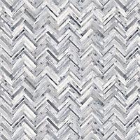 Splashwall Matt Grey & white Herringbone MDF Splashback, (H)600mm (W)2440mm (T)10mm
