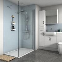 Splashwall Matt Pale blue Shower Panel (H)2420mm (W)900mm (T)4mm