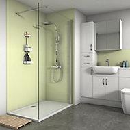 Splashwall Matt Pale lemon Shower Panel (H)2420mm (W)900mm (T)4mm