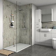 Splashwall Matt Shabby wood Shower Panel (H)2420mm (W)600mm (T)11mm