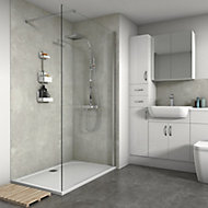 Splashwall Matt White concrete Shower Panel (H)2420mm (W)600mm (T)11mm