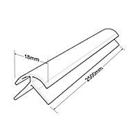 Splashwall Pale pink Panel external corner joint, (W)400mm (T)3mm