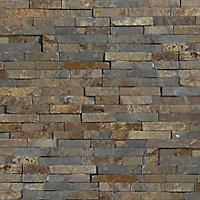 Splitface Multicolour Matt Patterned Natural stone Wall Tile, Pack of 12, (L)400mm (W)150mm