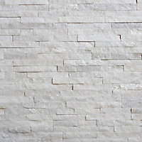 Splitface White Semi-gloss Patterned Natural stone Wall Tile, Pack of 12, (L)400mm (W)150mm