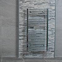 Splitface White Stone effect Linear interlocking Marble Border tile, Pack of 8, (L)360mm (W)100mm