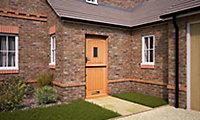Stable 3 panel Diamond bevel Glazed Cottage White oak veneer LH & RH External Front Door, (H)2032mm (W)813mm