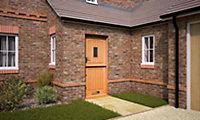 Stable Diamond bevel Glazed Cottage White oak veneer LH & RH External Front Door, (H)1981mm (W)838mm