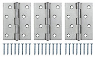 Stainless steel Butt Door hinge (L)100mm N432, Pack of 3