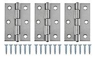 Stainless steel Butt Door hinge N168 (L)75mm, Pack of 3
