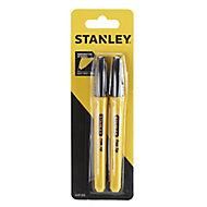 Stanley Black Fine tip Permanent Marker pen, Pack of 2