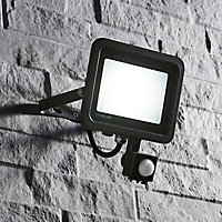Stanley Black Mains-powered Cool white Outdoor LED PIR Floodlight 4000lm