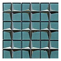Stargazer Teal Mirror effect Glass 2x2 Mosaic tile, (L)300mm (W)300mm