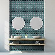 Stargazer Teal Star Glass 2x2 Mosaic tile, (L)300mm (W)300mm