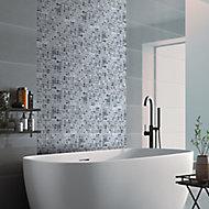 Stone etch Grey Marble 3x3 Mosaic tile, (L)300mm (W)300mm
