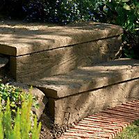 Stonewood Single sided Antique brown Sleeper edging (H)250mm (W)900mm (T)50mm