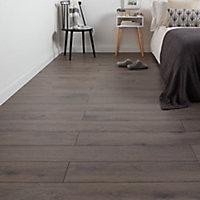 Strood Grey Gloss Oak effect Laminate Flooring Sample