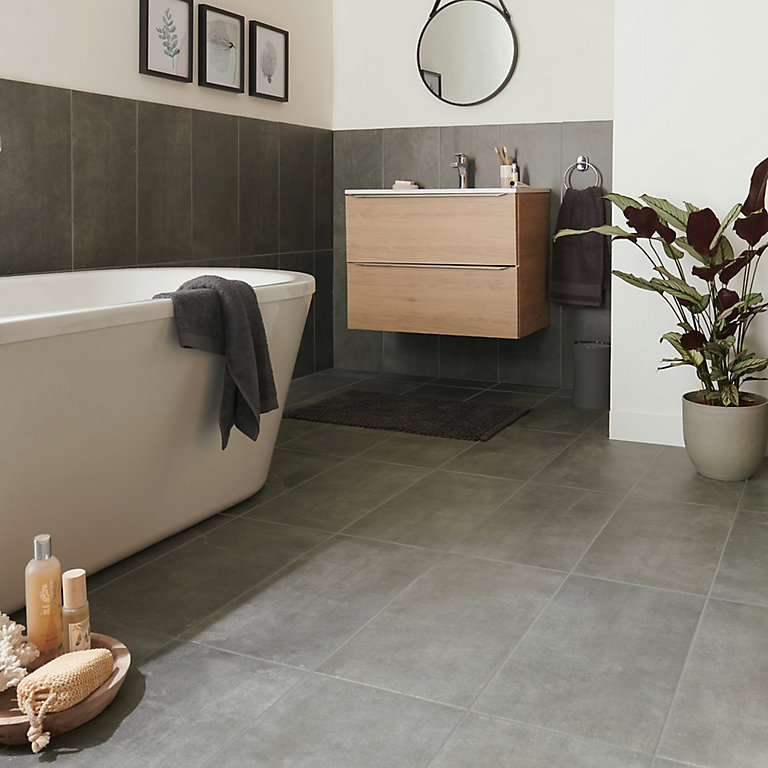 Structured Grey Matt Concrete Effect, Porcelain Tiles For Bathroom