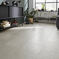 Structured Off white Matt Concrete effect Porcelain Wall & floor Tile, Pack of 6, (L)600mm (W)300mm