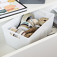 Studio High polished finish White 3.9L Plastic Nestable Storage basket (H)110mm (W)170mm