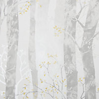 Sublime Grey & ochre Dappled trees Smooth Wallpaper