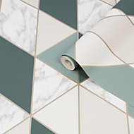 Sublime Marble Green Geometric Metallic effect Smooth Wallpaper