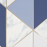 Sublime Marble Navy Geometric Metallic effect Smooth Wallpaper