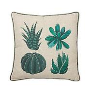 Succulent Cream & green Cushion (L)45cm x (W)45cm
