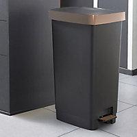 Sundis Pedal Matt Copper Metallic effect Plastic Rectangular Freestanding Kitchen Bin, 40L