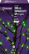 Supabrights Green 200 LED Indoor & outdoor String lights
