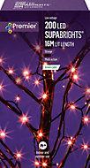 Supabrights Orange 200 LED Indoor & outdoor String lights