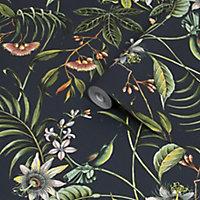 Superfresco Easy Adilah Black Leaves Smooth Wallpaper