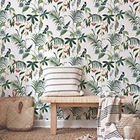 Superfresco Easy Adilah White Leaves Smooth Wallpaper