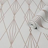 Superfresco Easy Ajuga Grey Geometric Metallic effect Textured Wallpaper