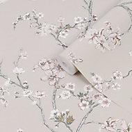 Superfresco Easy Alexa crane Taupe Cherry blossom Smooth Wallpaper