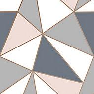 Superfresco Easy Apex Navy & pink Geometric Smooth Wallpaper