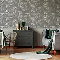 Superfresco Easy Asia Dark grey Leaves Smooth Wallpaper