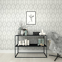 Superfresco Easy Batam Grey Geometric Embossed Wallpaper