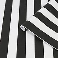 Superfresco Easy Black & white Stripe Smooth Wallpaper