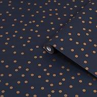 Superfresco Easy Copper & navy Confetti Metallic effect Smooth Wallpaper