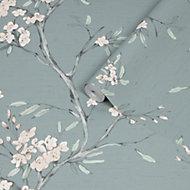 Superfresco Easy Duck egg Oriental blossom Embossed Wallpaper